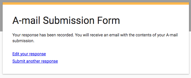 A-mail form confirmation message