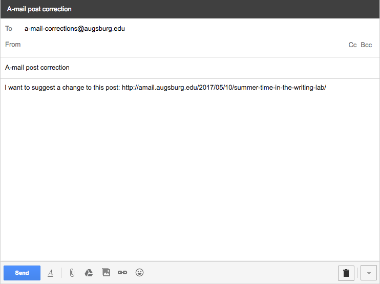 Email example with email address, subject line, and message body that includes the post URL