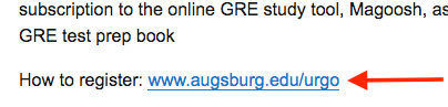 Arrow pointing to a URL (www.augsburg.edu/urgo) that is blue and underlined, indicating it is hyperlinked