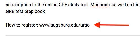 Arrow pointing to a URL (www.augsburg.edu/urgo) that is in plain text.